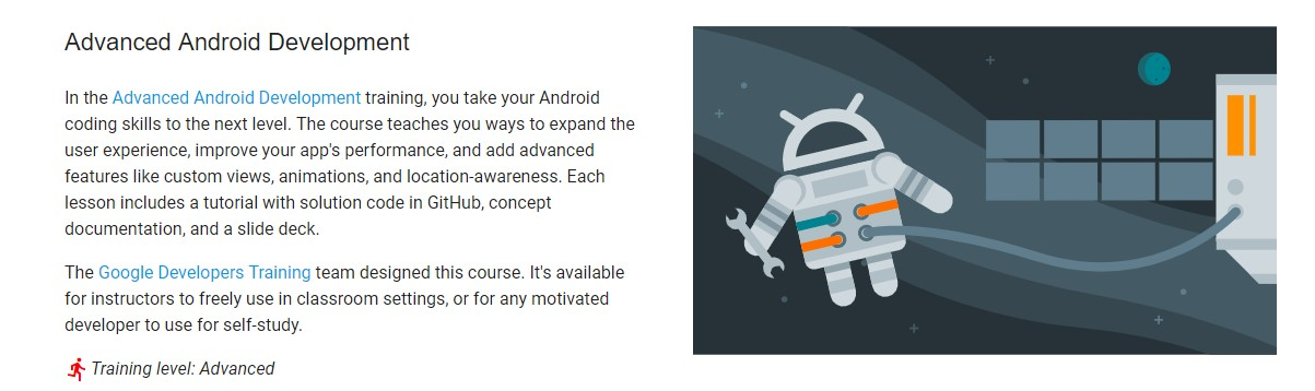 Which is the best online course for developing Android Apps