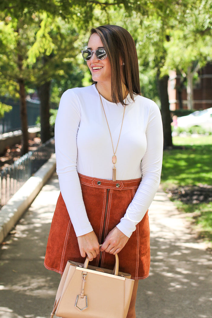 Krista Robertson, Covering the Bases, Travel Blog, NYC Blog, Preppy Blog, Style, Fashion Blog, Preppy Looks, Topshop, Suede Skirts, Navy Cape, Cape, Fall to Summer Pieces, Back to School Clothes, Fall Essentials, How to Dress for Fall, NYC Fall Style