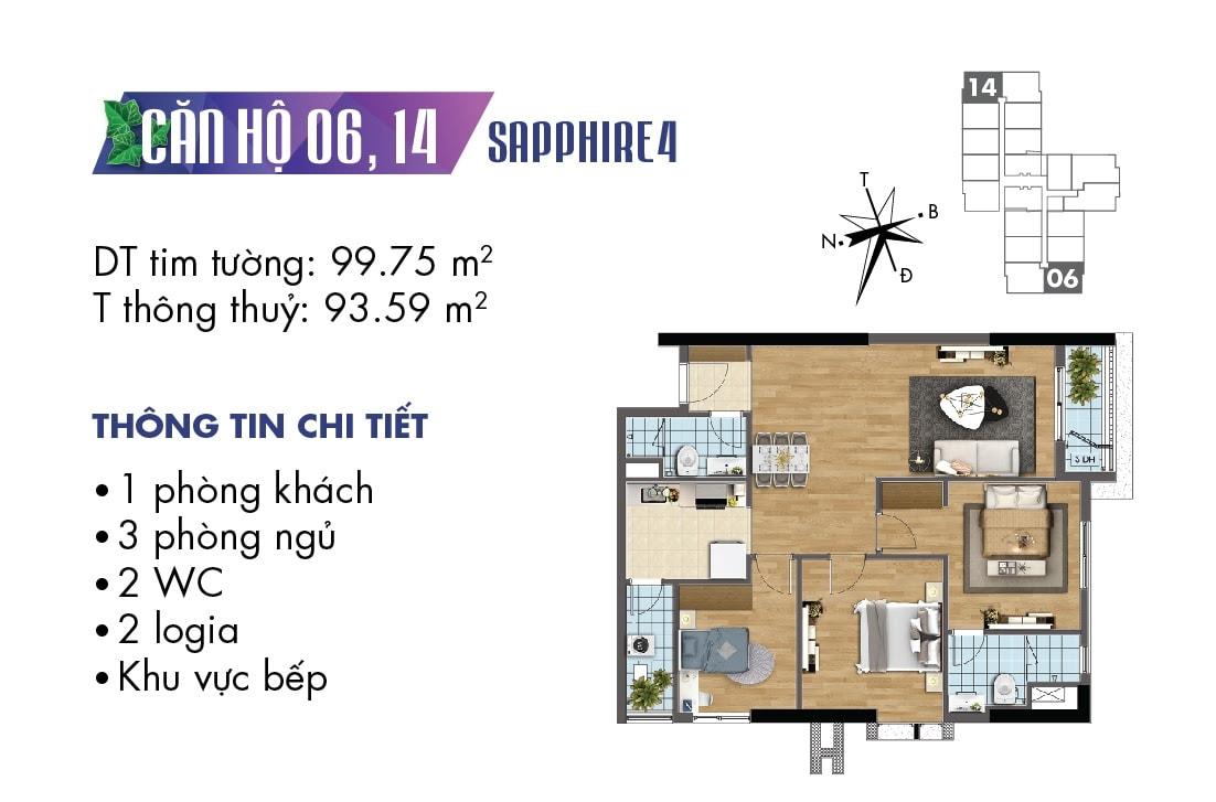 Mặt bằng căn hộ 06 và 14 Sapphire 4