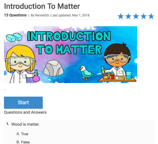 QUIZ: Introduction to matter