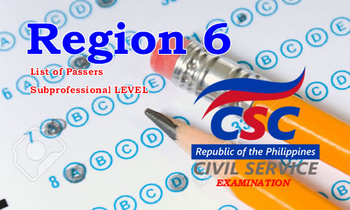 List of Passers Region 6 August 2017 CSE-PPT Subprofessional Level