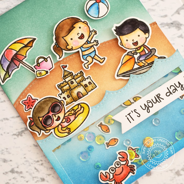 Sunny Studio Stamps: Beach Babies Sand and Ocean Fun Shaker Card by Lexa Levana