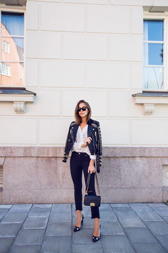 Kenza Zouiten Leather Stud Embellished Jacket Ripped Black Jeans Chanel Boy Bag