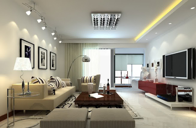 wonderful living room with modern light fixtures and recessed downlights patching on the ceiling room completed with modern light brown sofa plus short brown lacquered coffee table