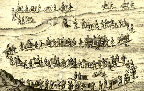 "A procession to pay tribute to a shogun. ""The History of Japan"" by Engelbert Kaempfer (1727)"