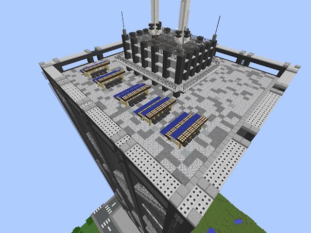 Minecraft bovenop een flatgebouw