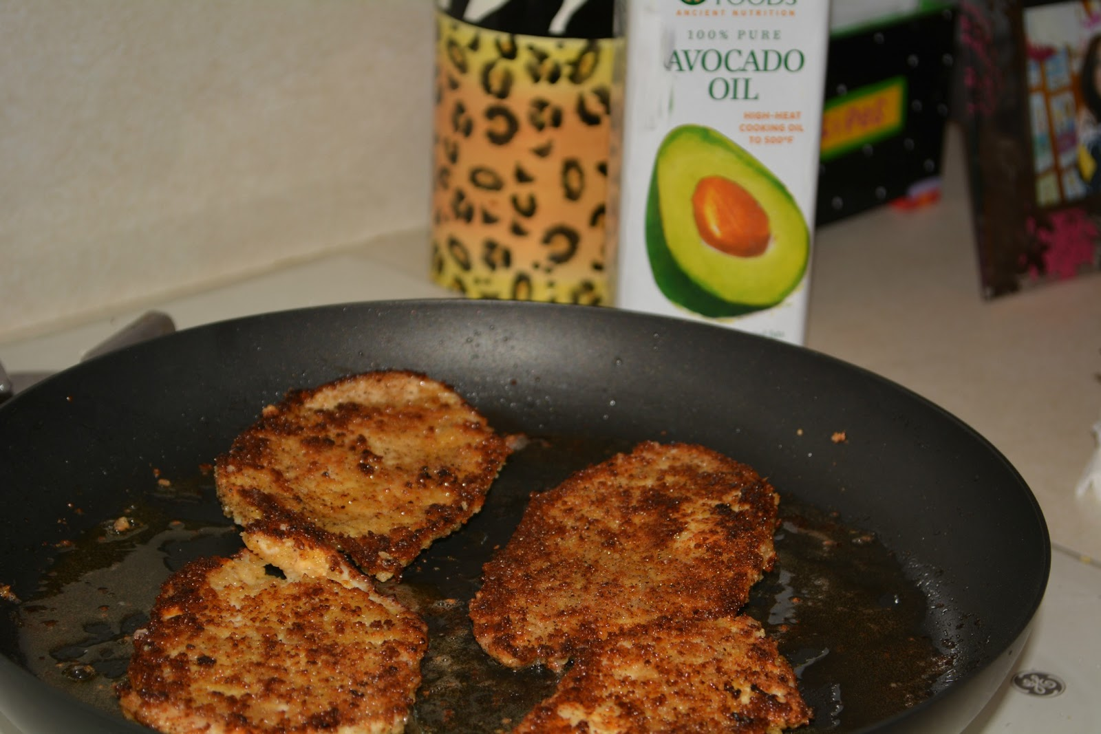 Chicken Pan Fried In Avocado Oil Topped With Pesto And