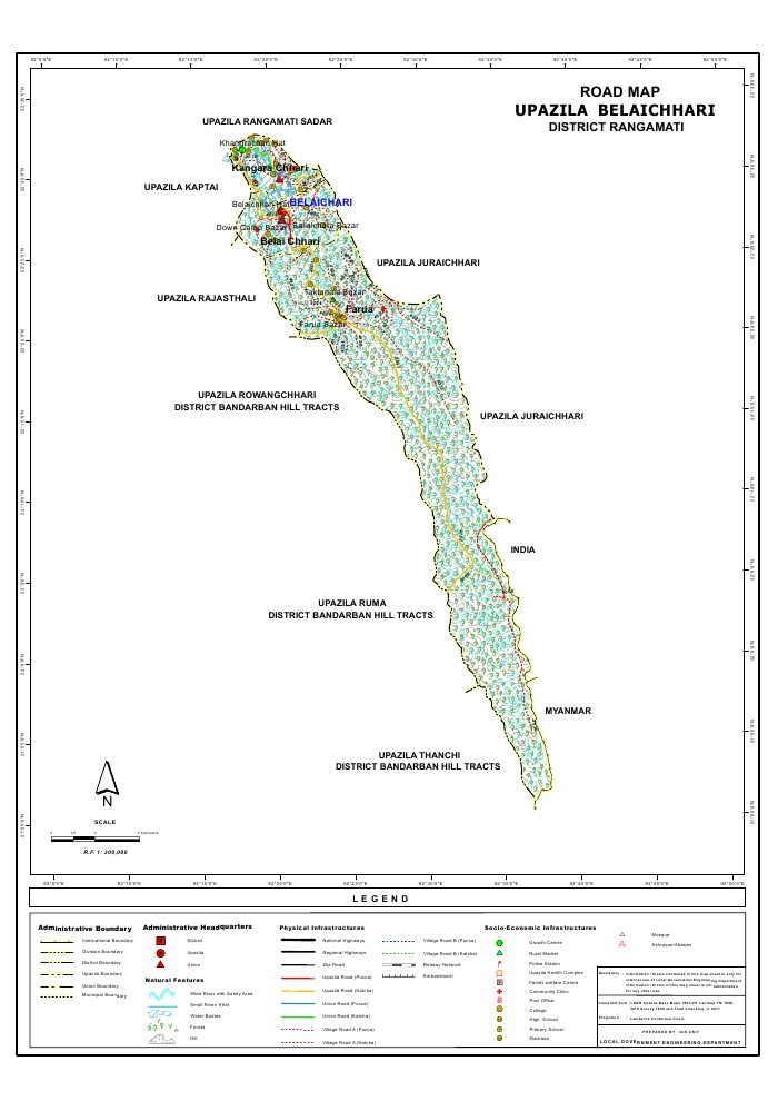 Belaichari Upazila Road Map Rangamati District Bangladesh