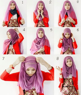 Hijab segi empat modis untuk pipi tembem
