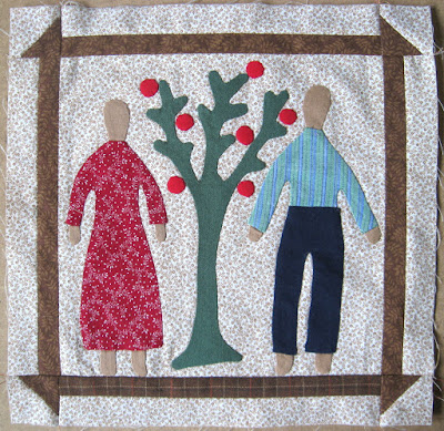 appliqued couple with tree for Sweet Land of Liberty quilt by Cheri Payne