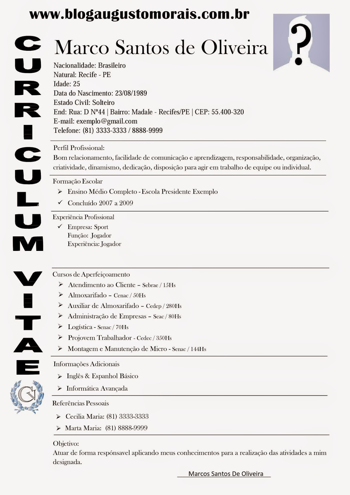 Modelos De Curriculo Profissional Gratis Blog Augusto Morais De