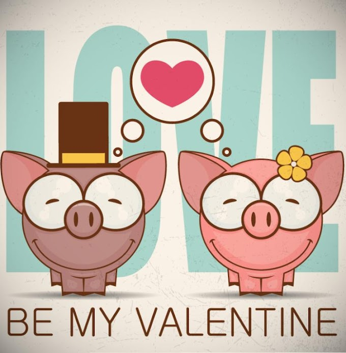 Cartoon Smiling Couple Pigs Valentine's Day Free Vector