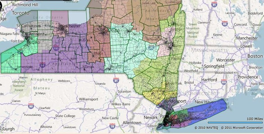 Races and Redistricting  New York Fair Redistricting Map New York s 18th Congressional District  Nan Hayworth  R  Yellow  Presidential Data  Obama 52 5   McCain 46 4  Average  Dem 54 9   McCain  45 1