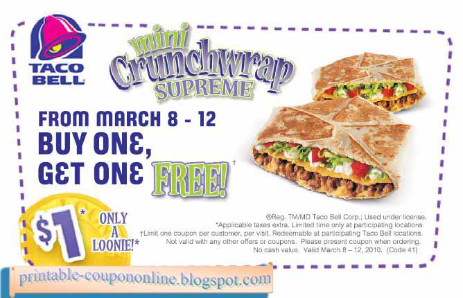 picture regarding Taco Bell Coupons Printable identified as Taco bell discount codes printable