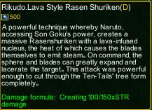 naruto castle defense 6.4 naruto Rikudo.Lava Style Rasen Shuriken detail
