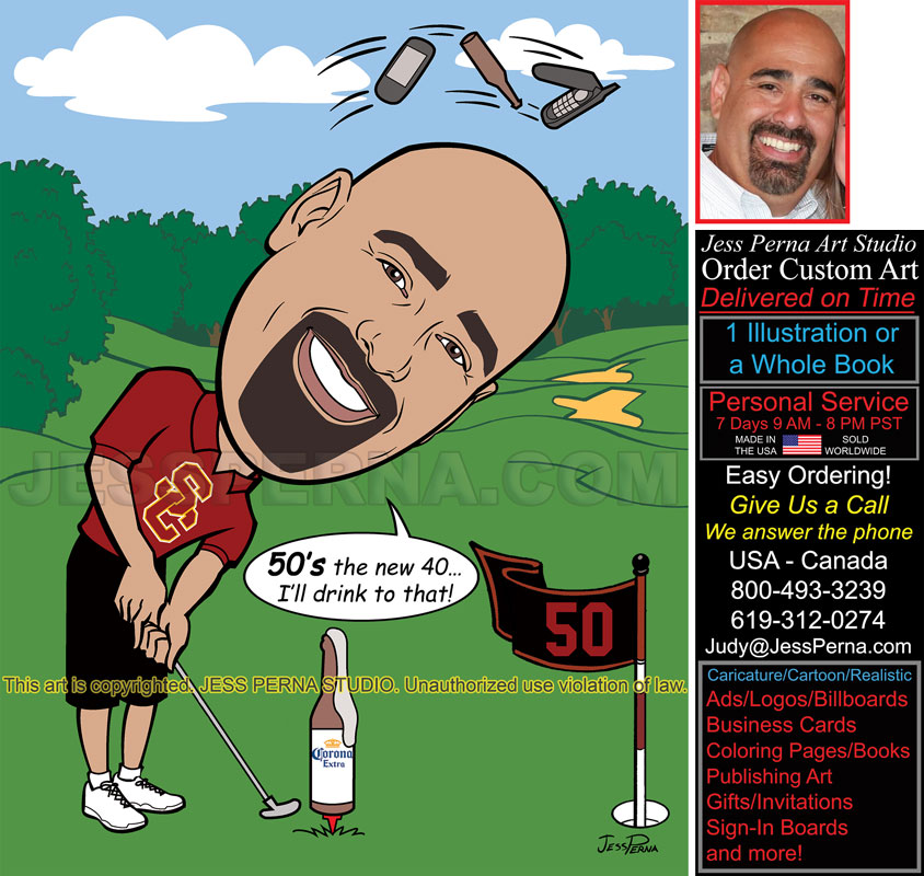 Order Drunk Golfer 50th Birthday Invitation Caricature