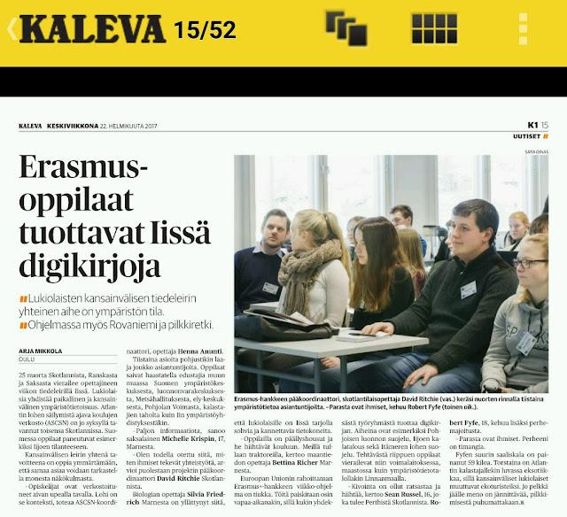 """Valokuva Kalevan artikkelista """"Erasmus-oppilaat tuottavat Iissä digikirjoja"""""""