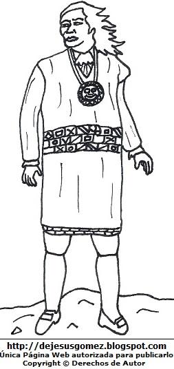 Dibujo de Túpac Amaru II parado para colorear o pintar. Imagen de José Gabriel Condorcanqui de Jesus Gómez