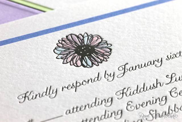 flower motif, pink, blue, purple hand coloring, letterpress printing