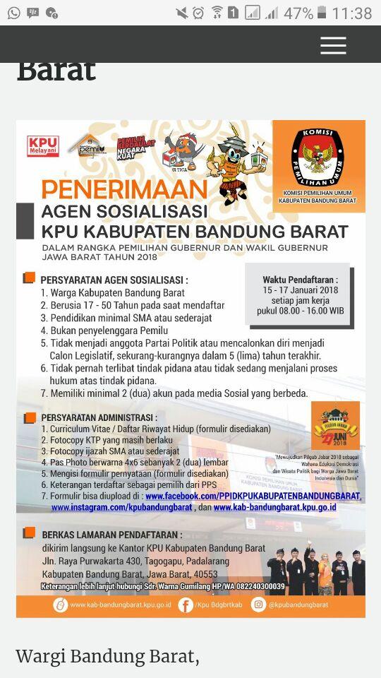 Telah Dibuka Penerimaan Agen Sosialisasi KPU Bandung Barat 2018