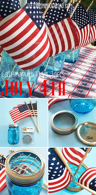 Mason Jars and Flags for July 4th Centerpieces