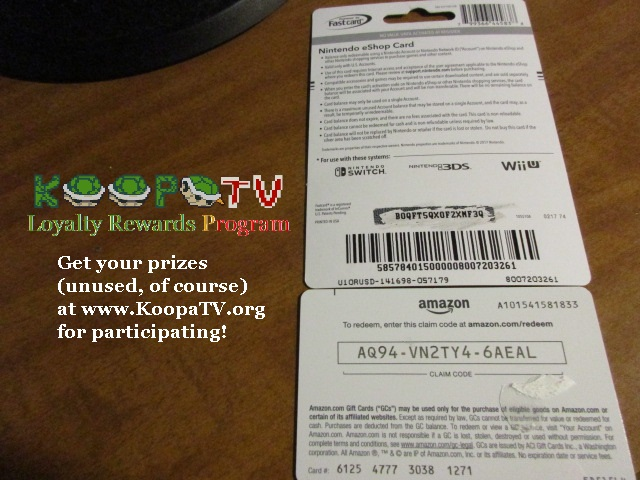 Nintendo eShop card code Amazon gift claim format KoopaTV Loyalty Rewards Program InComm Fastcard ACI