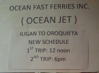 oceanjet iligan-oroquieta schedule