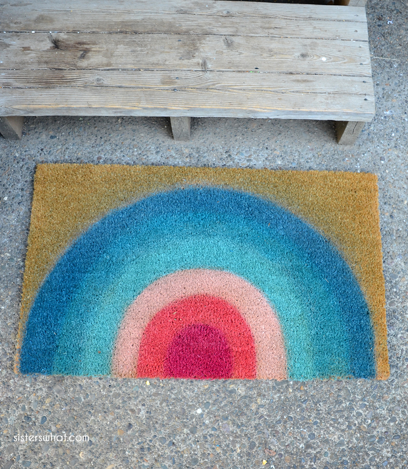 diy doormat rainbow