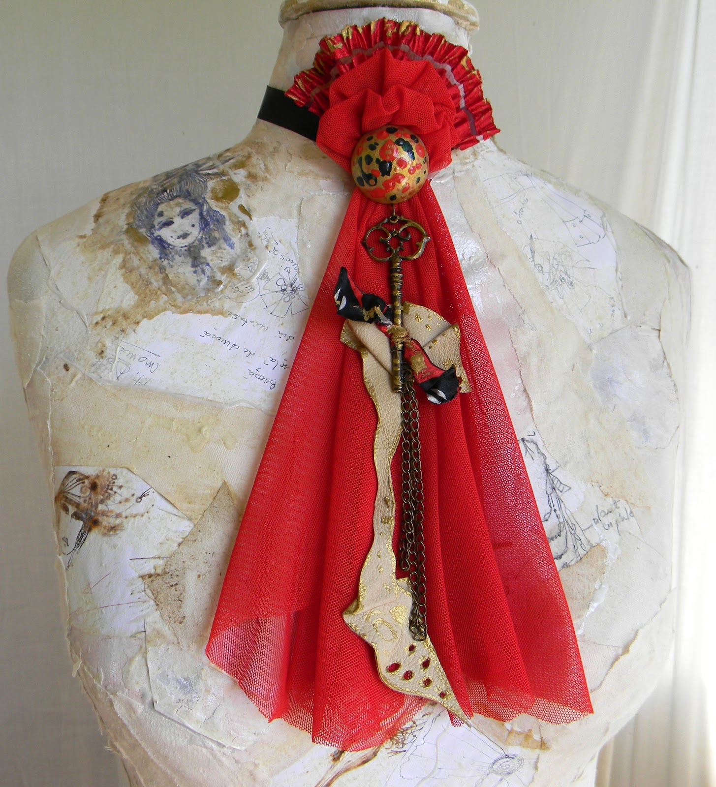 Handmade Jabot/Choker/Bib/Red Vintage Couture/Moulin Rouge Inspired
