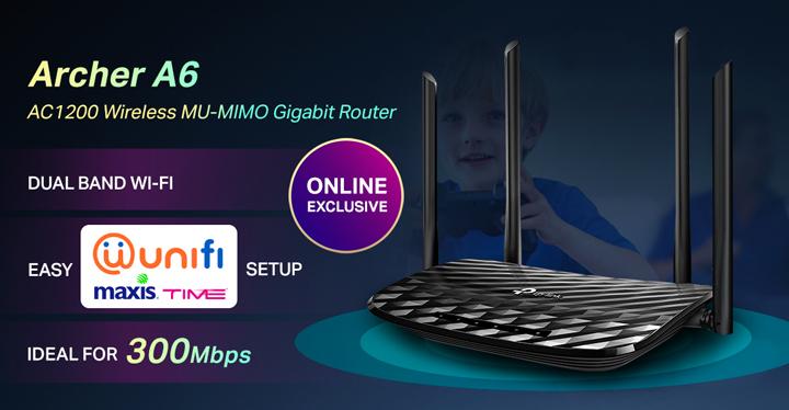 TP-Link AC1200 Wireless MU-MIMO Gigabit Router Archer A6 Untuk Pengguna Unifi