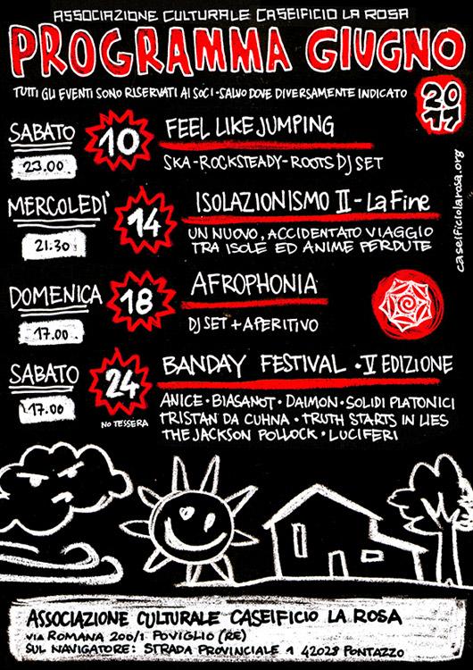 Programma giugno 2017 caseificio la rosa isolazionismo banday festival