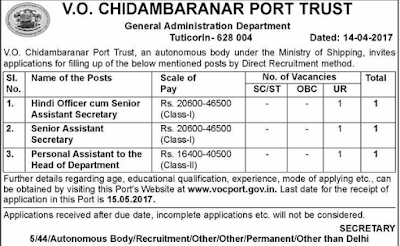 VOC Port Trust Recruitment 2017 vocport.gov.in Application Form