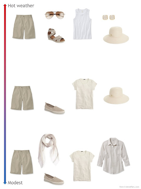 3 ways to style khaki shorts from a travel capsule wardrobe