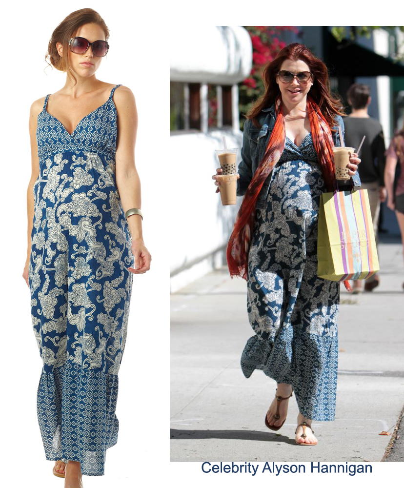 62a54dc45a8d4 Actress Alyson Hannigan was spotted looking lovely in our Seraphine Matilda  Maxi Maternity Dress in blue and white! The