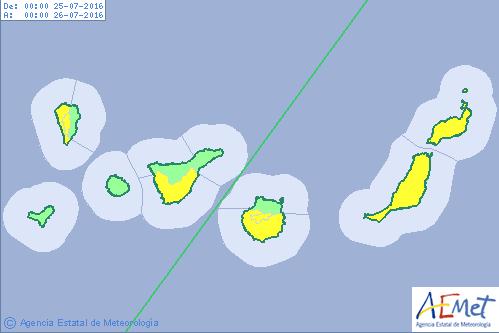 El aviso amarillo por calor en Canarias se amplia a las islas de Tenerife, La Palma, Fuerteventura y Lanzarote, lunes 25 de julio y martes día 26