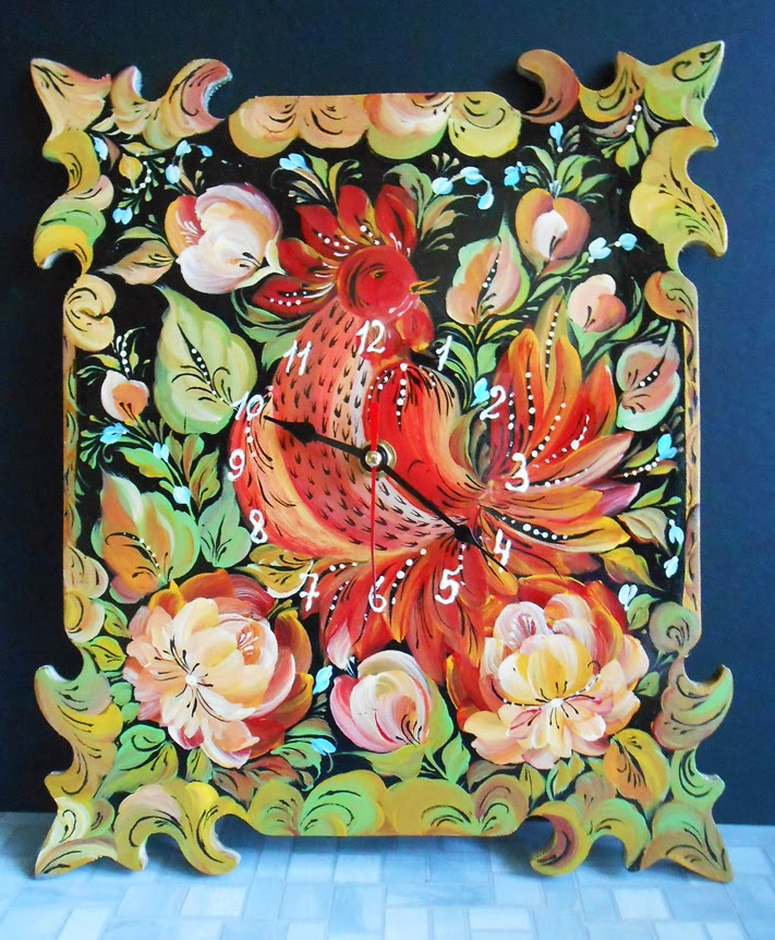 Russian Wall clock painting handmade with a cock and flowers in russian folk styles