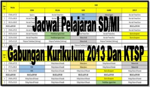 Download Jadwal Pelajaran SD/MI Gabungan Kurikulum 2013 Dan KTSP
