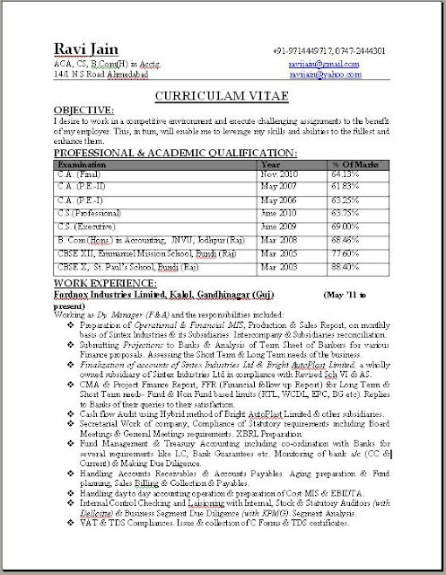 CA Professional Resume Format Free Download - format of a professional resume