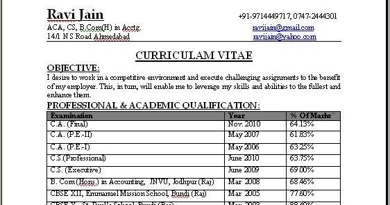 CA Professional Resume Format Free Download - training resume format