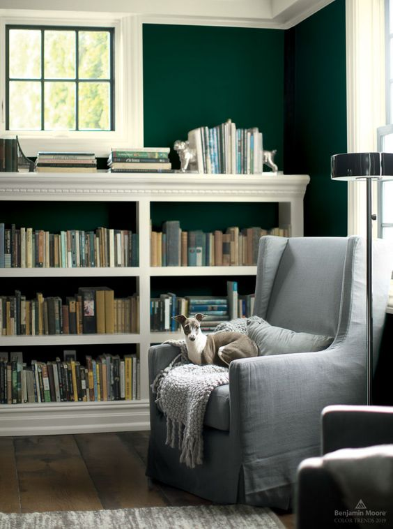 hunter green painted walls in classic study
