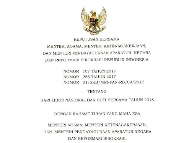 UPDATE : Daftar Hari Libur Nasional dan Cuti Bersama Tahun 2018