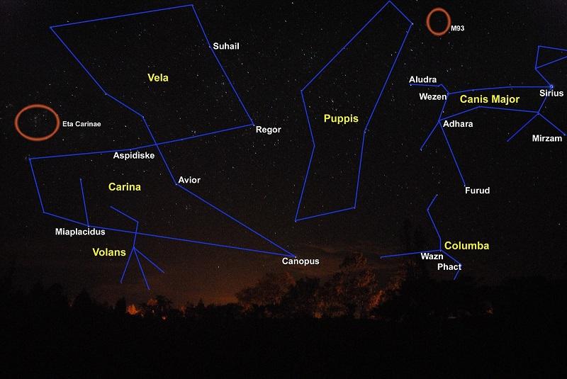 la constelación Vela, esta sería una de las cuatro partes en que fue dividida la constelación de Argo Navis (el navío Argos), siendo las otras Carina (la quilla), Puppis (la popa) y Pyxis (la brújula), es una constelación austral