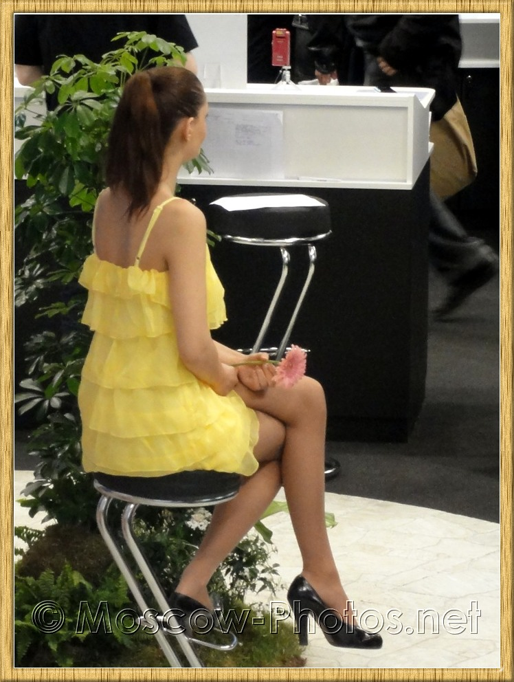 Sony promotional model in yellow dress