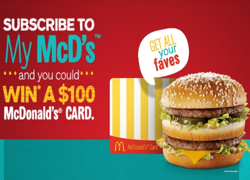 Mcdonalds My Mcd's $100 Gift Card Contest