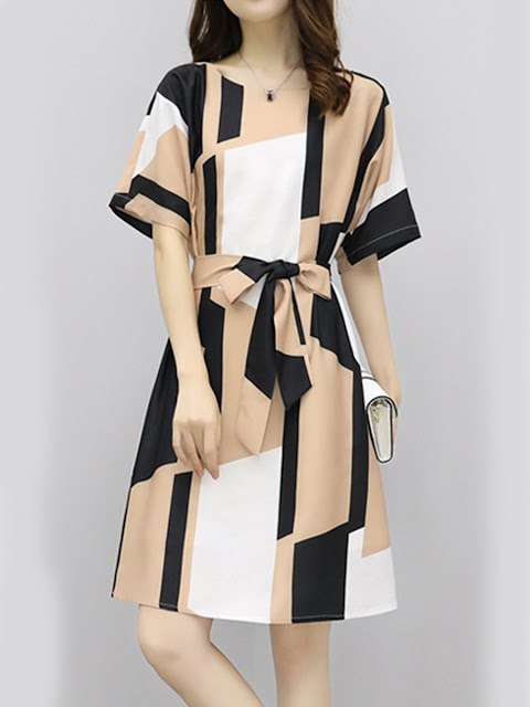 Round Neck Belt Print Shift Dress
