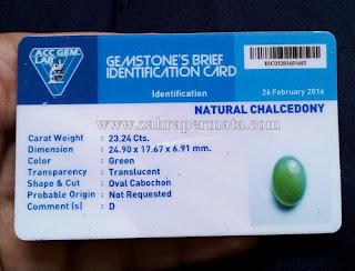 Batu Chrysoprase Chalcedony+Memo - ZP 678