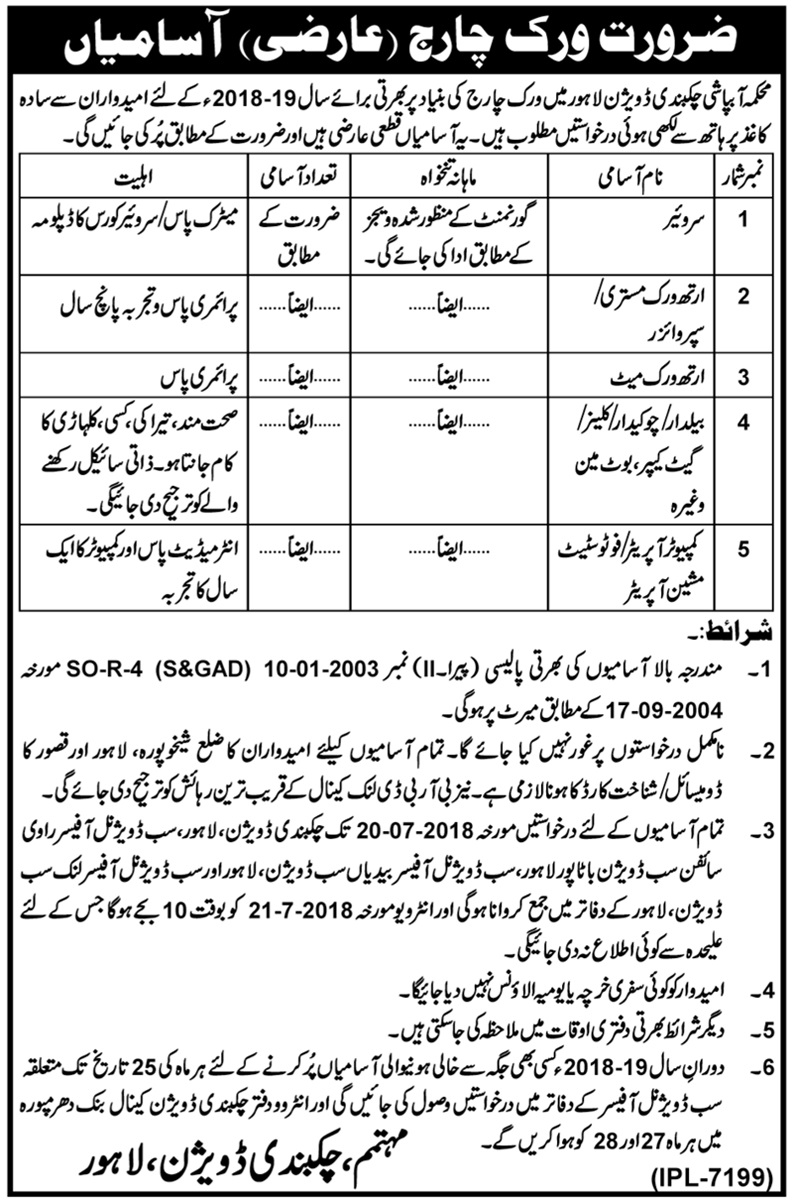 Work Charge Jobs in Irrigation Department Lahore Divisio