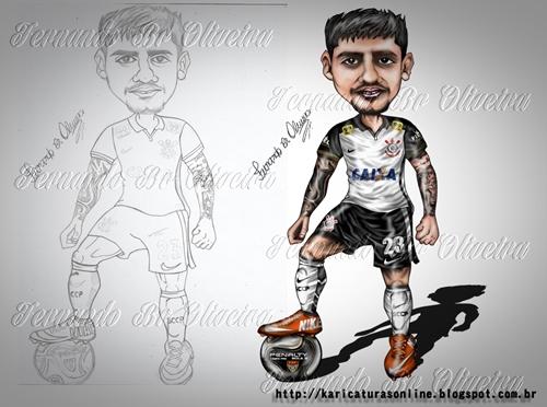 Esboço e caricatura do jogador do corinthians fagner 2016