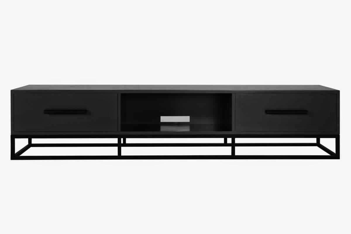 meuble tv metal noir maison design. Black Bedroom Furniture Sets. Home Design Ideas