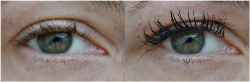 mascara de pestañas, antes y después de la aplicación